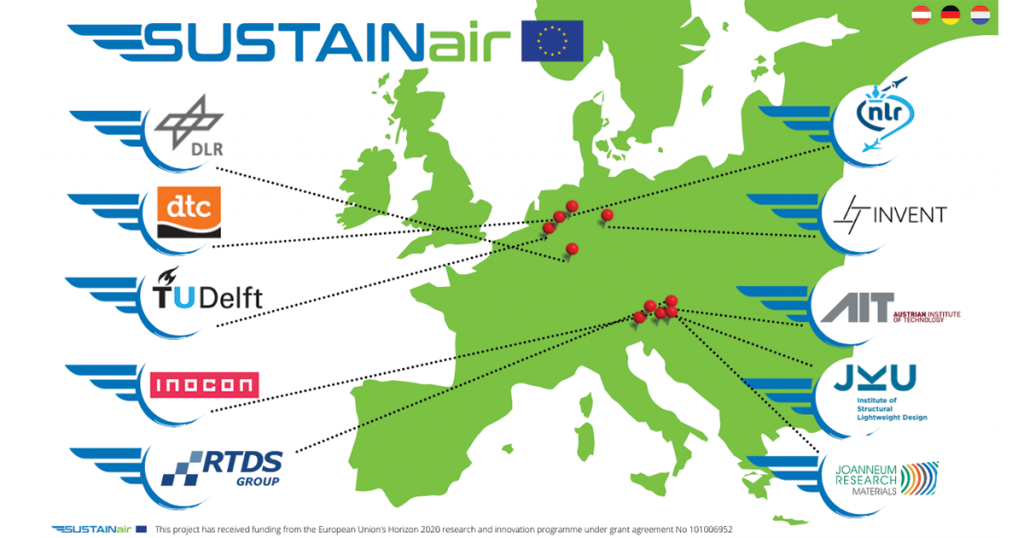 SUSTAINair project partners across Europe and supply chains of aviation